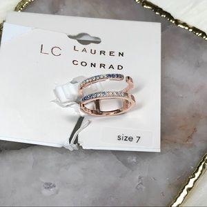 Lauren Conrad Split Band Ring w/Stones Sz 7 NWT
